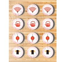 Three Digital Files  Cupcake Topper Japanese Set by AiniPrintables
