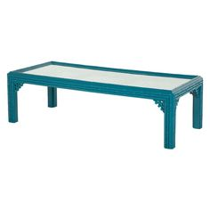 Vintage Turquoise Faux Bamboo Coffee Table   See more antique and modern Coffee and Cocktail Tables at http://www.1stdibs.com/furniture/tables/coffee-tables-cocktail-tables