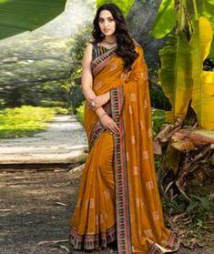Chanderi Silk Latest Sarees Online, Indian Sarees Online, Silk Sarees Online, Chanderi Silk Saree, Art Silk Sarees, Fancy Sarees, Party Wear Sarees, Orange Saree, Saree Shopping