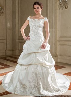 Wedding Dresses - $246.99 - Ball-Gown Off-the-Shoulder Chapel Train Satin Wedding Dress With Embroidery Ruffle Beadwork Sequins (002012561) http://jjshouse.com/Ball-Gown-Off-The-Shoulder-Chapel-Train-Satin-Wedding-Dress-With-Embroidery-Ruffle-Beadwork-Sequins-002012561-g12561?ver=xdegc7h0