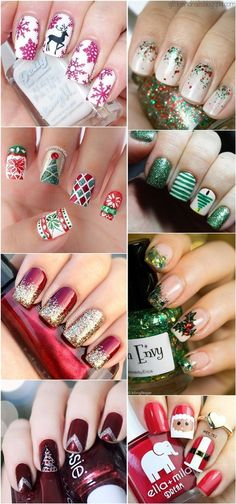Have you ever wonder what do you want to see on your nails during Christmas holidays? It is a beautiful reason to try some adorable Reindeers, Santa Claus, Christmas tree, snowflakes or just solid design decorated with glitter. Why we are still waiting? Let's go see what I've collected for you!