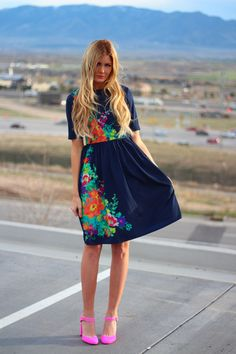 Floral Dress and Pink Heels