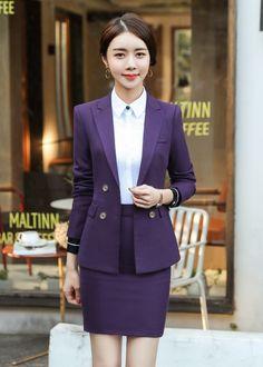 ชุดสูททำงานสีกระดุมสีม่วงพร้อมกระโปรง Fashion Line, Suit Fashion, Asian Fashion, Fashion Outfits, Office Outfits, Office Uniform, Suits For Women, Clothes For Women, Office Fashion