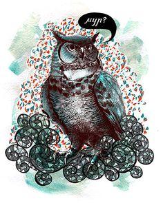 (via Animals on the Behance Network) Magazine Illustration, Illustration Art, Owl Artwork, Wise Owl, Animal Totems, Illustrators, Behance, Lion Sculpture, Creatures