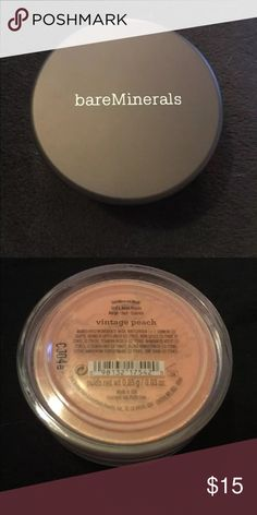 "bareMinerals blush in Vintage Peach bareMinerals Blush Full Size (.03oz / .85g) Shade:  VINTAGE PEACH (peach) Brand New & Fresh Factory Sealed  New ""Click, Lock & Go"" Packaging No-Spills, No-Mess bareMinerals Makeup Blush"