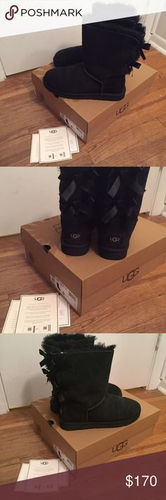 Authentic Ugg Boots - Black Bailey Bow - Size 9 Size 9 Authentic Black Bailey Bow Uggs! With box and papers. Very good condition! Willing to negotiate! Need more pictures? Just ask :) UGG Shoes Ankle Boots & Booties