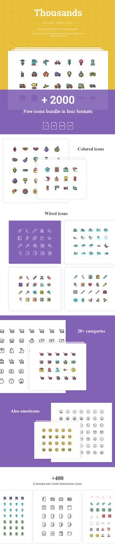 Today we have for you a massive collection of more than 2000 free icons available in 2 styles: wired and colored...