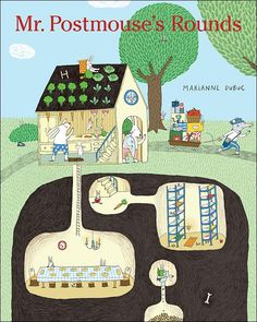 In this bustling picture book, Mr. Postmouse carefully loads up his wagon and sets off to make the day's mail deliveries to all the animals on his route. Via cross-section drawings, readers get to peer inside each home Mr. Postmouse stops at, and every one is different, depending on the animals who live there. For example, there's a hole in the middle of the kitchen floor of the Rabbits' home that leads underground to where they sleep and eat.