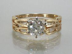 Fine Old European Cut Diamond Vintage Wedding Ring Set - 0.65 Carat - New Condition on Etsy, $1,625.00