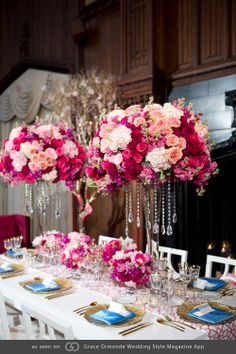 Inspired by fashion designer Marc Jacobs, this opulent tablescape bodes vibrant bursts of color and modernity in juxtaposition to the old world ascetic of the Kohl Mansion.