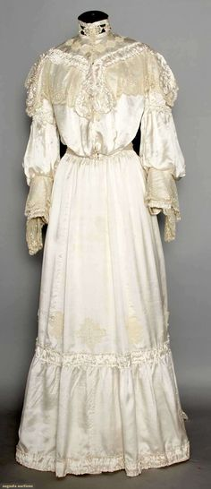 White Satin Tea Gown, C. 1902, Augusta Auctions, MAY 13th & 14th, 2014, Lot 274