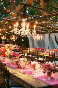 Rustic Wedding Tables and lighting