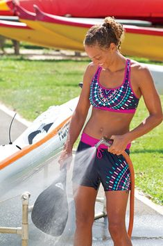 More Bikini - Sturdy, wire-free, powermesh sling system construction gives us the support we need for diving deep and dashing down the beach. Pullover racerback styling with built-in modesty. Compressive fit. Best for C's and D's.