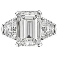 Large Emerald cut Diamond shield sides