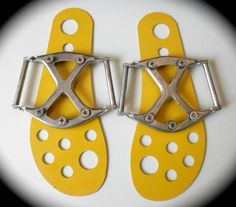 FUNKY COOL Yellow Pop Art  Metal Shoes // Oddities by JackpotJen, $32.00