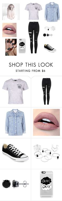 """""""Wall Flower Crop Top, Oversized Denim Jacket"""" by jgates2298 ❤ liked on Polyvore featuring Topshop, Converse, BERRICLE and Casetify"""