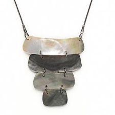 Avant Garde Modernist Gunmetal and Black Lip Shell Necklace