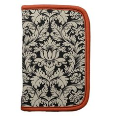 Black And Beige Vintage Floral Damasks Planners