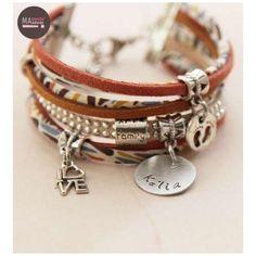 Bracelet Manchette Personnalisé Karter Retro avec prénom gravé