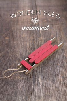 Wooden Sled Ornament