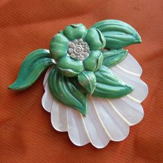 Vintage 1930s Brooch Emerald Green Enameled Pin Carved Mother of Pearl Flower