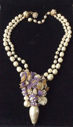 Vintage Signed Miriam Haskell Baroque Faux Pearl Necklace