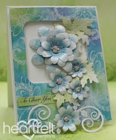 Delightful Teal Daisies by Emma Lou Beechy for Heartfelt Creations using the Peacock Paisley Paper Collection; Mar 2015