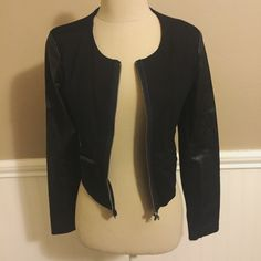 Black jacket, never worn! Black faux leather jacket, barely worn and in great condition!! Brand - BCBG size small!! (Listed as Topshop for exposure) Topshop Jackets & Coats