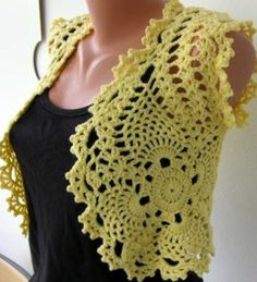 Crochet Yellow Shrug Bolero Vest