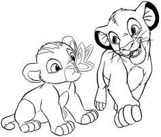 baby simba and nala coloring page of the lion king Disney Princess Coloring Pages, Disney Princess Colors, Disney Colors, Abstract Coloring Pages, Cartoon Coloring Pages, Coloring Books, Kiara Lion King, Lion King Baby, King Simba
