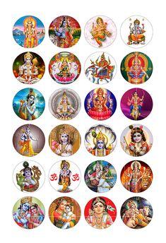 Hindu Gods Digital Collage Sheet 1 inch 30mm 35mm 1.5 inch