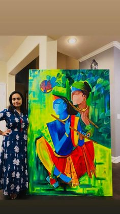 Budha Painting, Ganesha Painting, Indian Art Paintings, Modern Art Paintings, Large Canvas Art, Diy Canvas Art, Radha Krishna Paintings, Krishna Art, Krishna Images