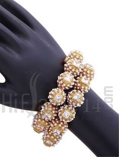 #White Beads Studded #Screw Type #Kada  Call or #Whatsapp (7200 70 1414) for more collections.