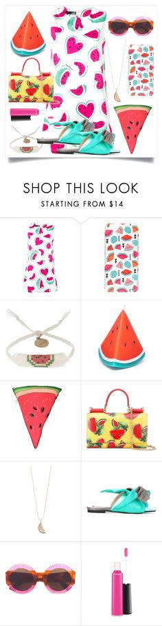 """I Love Watermelon..**"" by yagna ❤ liked on Polyvore featuring Love Moschino, Milkyway, Venessa Arizaga, Sunnylife, Silken Favours, Dolce&Gabbana, Sydney Evan, Gucci and MAC Cosmetics"