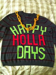 Takes ugly sweater to a whole new level haha! found the sweater I'll be making for our tacky christmas party! Best Christmas Sweaters, Ugly Xmas Sweater, Tacky Christmas, Christmas Holidays, Christmas Parties, Xmas Party, Tacky Sweaters, Christmas Ideas, Christmas Stuff