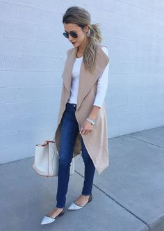 DETAILS: SLEEVELESS CAMEL COAT/VEST || WHITE LONG SLEEVE TEE || DENIM || SPOTTED FLATS (OVER 75% OFF | LOVE THESE) || AVIATORS (UNDER $20) || LIPSTICK (SHADE: VIVA GLAM) || GOLD JEWELRY (LAST SEEN ...