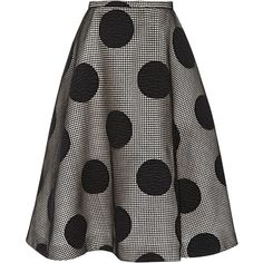 Rochas Embroidered Wool Polka Dot Skirt (4,605 CAD) ❤ liked on Polyvore featuring skirts, polka dot skater skirt, stretchy skirts, wool skirt, skater skirt and woolen skirts