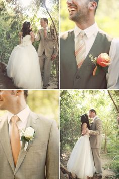 Love these colors. Bridesmaids can wear tan neutral colored dresses and the pop of color will come from the guys ties!