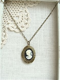 Antique Brass Cameo Locket Necklace