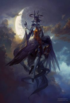 Leliel, Angel of Night – fantasy concept by Peter Mohrbacher Dark Fantasy Art, Fantasy Artwork, Fantasy Demon, Fantasy Creatures, Mythical Creatures, Tatoo Art, Angels And Demons, Monster Art, Creature Design