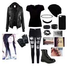 """all black tag"" by gerardsemopancake ❤ liked on Polyvore"