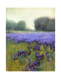Spring Iris wildflowers original plein air landscape by GalleryZen