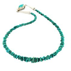 Fox Turquoise Necklace Aqua Nugget Beads Sterling by NewWorldGems