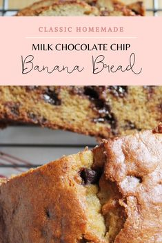 This banana bread recipe, with milk chocolate chips, is the version of banana bread I make over and over agin. It's moist, fluffy, and has a perfect crust. Chocolate Chip Banana Bread, Chocolate Chips, Vanilla Sheet Cakes, Toffee Bark, Levain Bakery, Cracker Toffee, Homemade Chips, Homemade Vanilla, Fall Baking