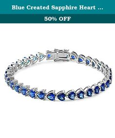 "Blue Created Sapphire Heart Cz Gemstone Bracelet Solid .925 Sterling Silver. Product code: SBC-1010-BS Lenght:7.25"" Width:5MM."