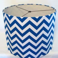 Drum Lamp Shade in Turquoise and White Chevron by elladeandesign, $75.00