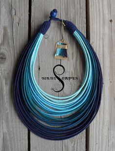 Ombre Abyss yarn-wrapped necklace / tribal / hippie / bohemian / blue / ocean
