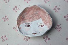 Illustrated Ceramic Face Dish Pink Hair Girl. Ring Dish