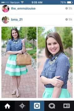 Mint and cream striped skirt chambray top modest spring fashion