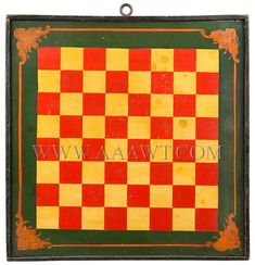 Antique Game Board, Double sided, Checker Board, 19th Century, checker board side view